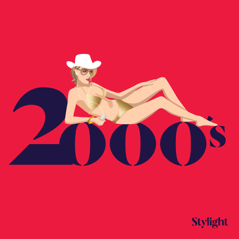 Stylight de bikini is jarig model uit 2000 in metallic bikini zonnebril en cowboy hoed